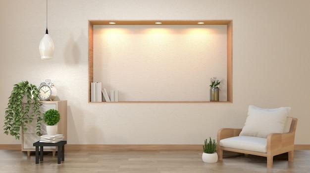 A parede branca vazia da sala de visitas do zen com projeto do estilo de japão da decoração ilumina para baixo na parede da prateleira. renderização em 3d