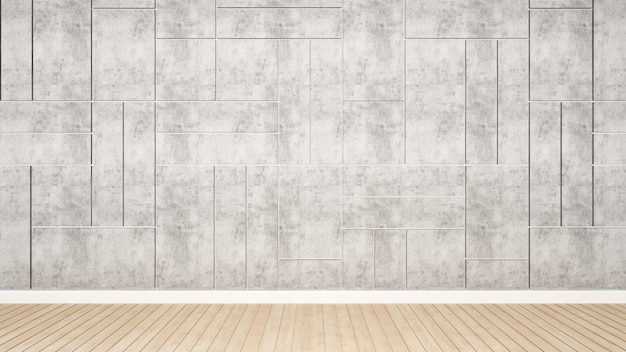 A parede de concreto decora a sala vazia para a arte finala, desi interior