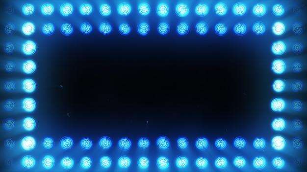 A parede de lâmpadas incandescentes azuis brilhantes acende ao longo do padrão