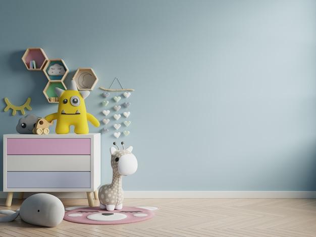 A parede do modelo na sala de crianças na obscuridade da parede - o azul colore o fundo.