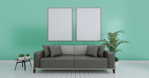 A parede interior da sala de visitas zomba acima do branco vazio. renderização em 3d.