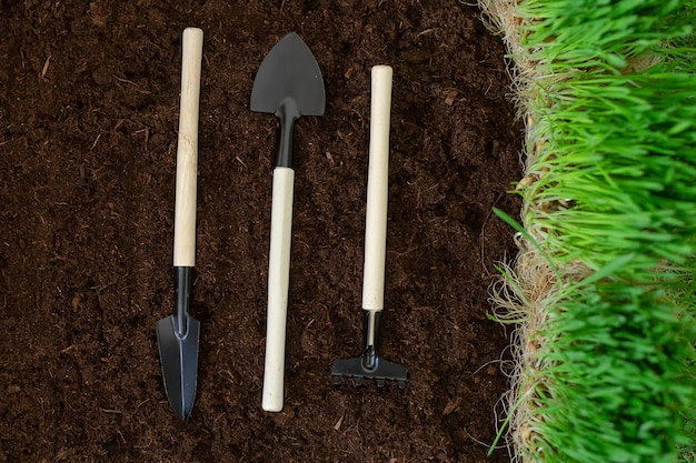 A pás e ancinhos no solo, preparando-se para o plantio da safra. dia da terra. planeta terra.