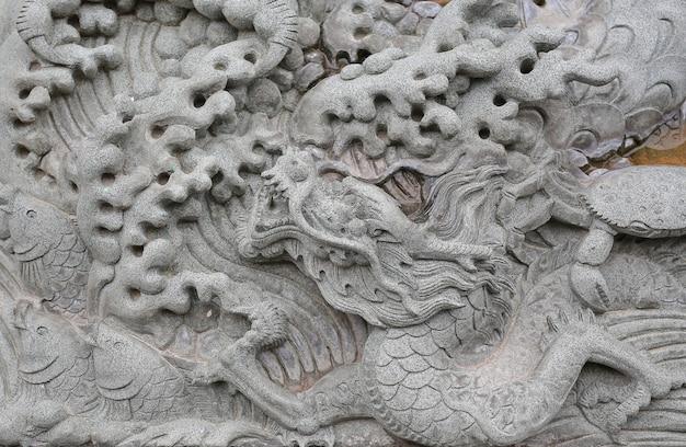 A pedra do dragão do chinês tradicional cinzelou em indicado no templo chinês em tailândia.