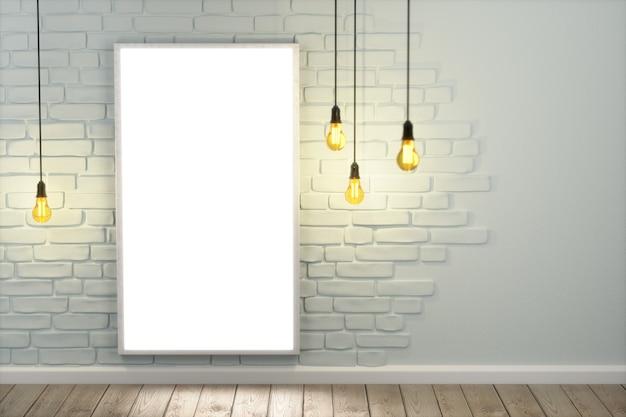 A perspectiva de uma sala, uma tela branca pendurada em uma parede de tijolos brancos. a tela está acesa. piso de madeira, template de layout para exposição de produtos. 3d render.
