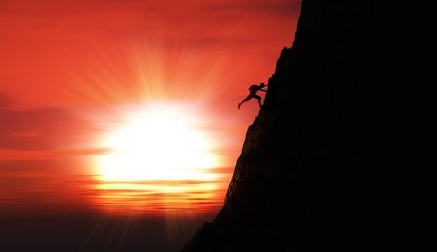 A pessoa que faz a escalada