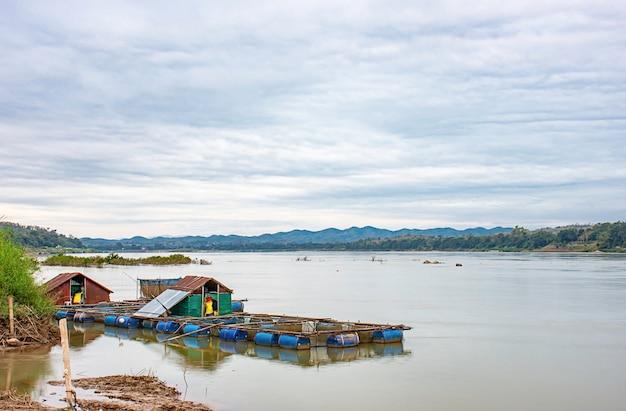 A piscicultura e o céu de flutuação de peixes no mekong river em loei em tailândia.