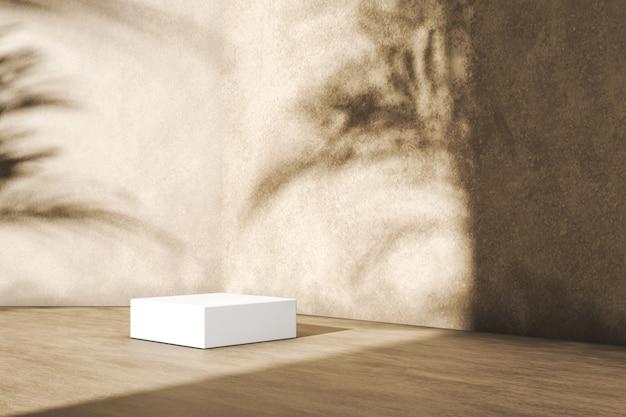 A plataforma branca no piso de madeira, plantas tropicais sombra no fundo, abstrato para apresentação do produto. renderização 3d