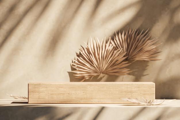 A plataforma de madeira na cena bege, guarda-sol sombra plantas tropicais na parede e desfocar o fundo. fundo abstrato para apresentação de produtos ou anúncios. renderização 3d