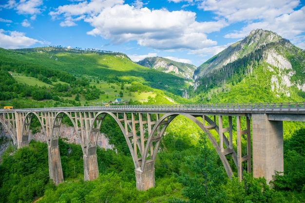 A ponte djurdjevic atravessa o desfiladeiro do rio tara, no norte de montenegro.