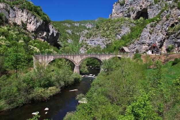 A ponte nas montanhas verdes da bósnia e herzegovina