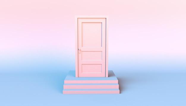A porta branca se fechou em alguns degraus. ilustração 3d. mínimo. moderno.
