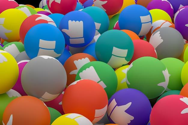 A reação do facebook emoji 3d faz fotos premium, simbolizando balões de mídia social com um polegar para cima para várias cores