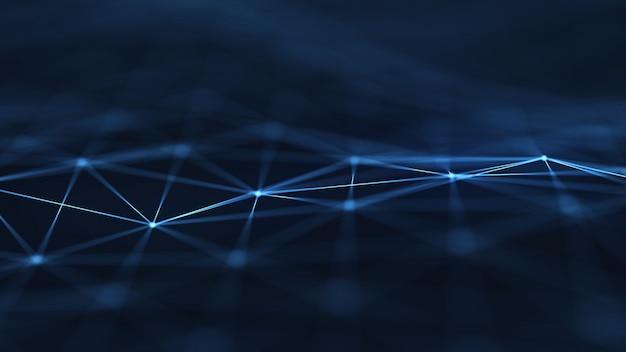 A rede abstrata do plexo intitula o fundo digital da tecnologia forma geométrica.