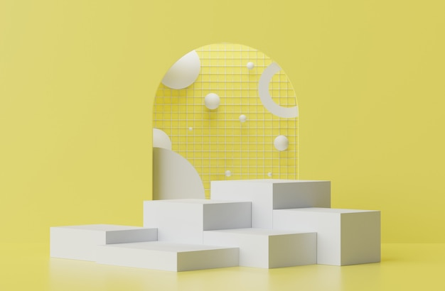 A renderização 3d de pastel exibe a cena do pódio para simulação e apresentação de produtos com fundo amarelo e cinza iluminante.