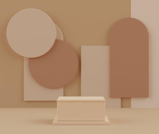 A renderização 3d de pastel exibe a cena do pódio para simulação e apresentação de produtos com fundo mínimo.