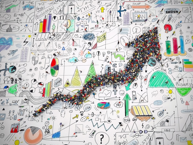 A renderização 3d de pessoas forma uma seta na superfície dos gráficos de análise de negócios