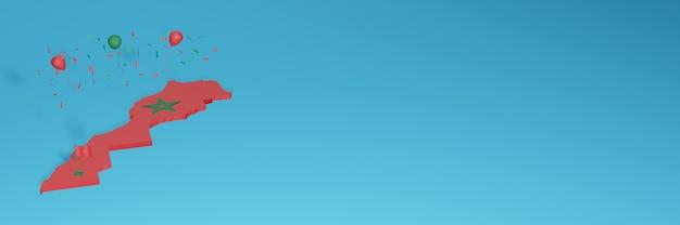 A renderização do mapa 3d mesclada com a bandeira do país do marrocos para as mídias sociais e adicionada capa de fundo do site balões verdes vermelhos para comemorar o dia da independência e o dia nacional de compras