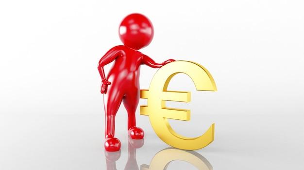 A renderização do modelo 3d controla a nota de euro