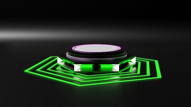 A renderização em 3d da plataforma mockup estilo sai-fi simula um giroscópio.