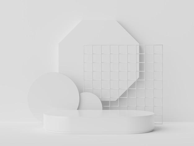 A renderização em 3d de mármore branco exibe a cena do pódio para simulação e apresentação de produtos com fundo mínimo.