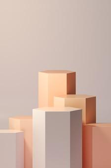 A rendição 3d concede o pódio em harmonia com a cor laranja.