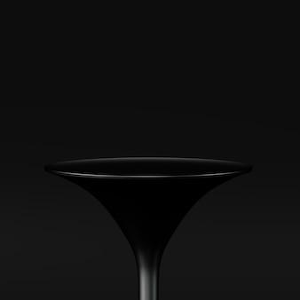 A rendição 3d concede o pódio em harmonia com a cor preta.
