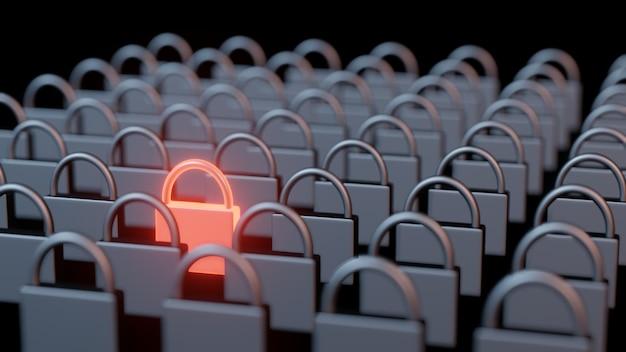 A rendição 3d de linhas e colunas de aço ferro pad bloqueios com um destacam-se no metal quente vermelho brilhante.