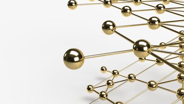 A rendição abstrata da estrutura de rede 3d da esfera do ouro do projeto da conexão do projeto.