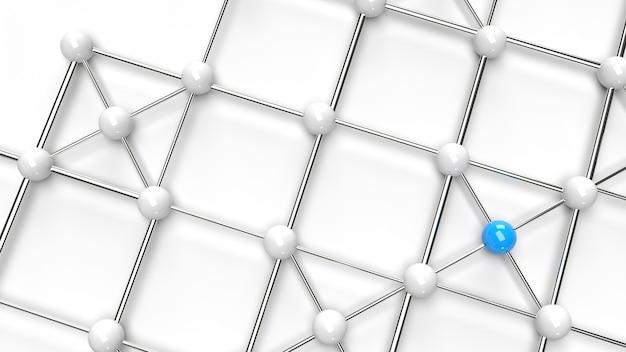 A rendição azul e branca da estrutura de rede 3d da esfera abstrata do projeto da conexão do projeto.