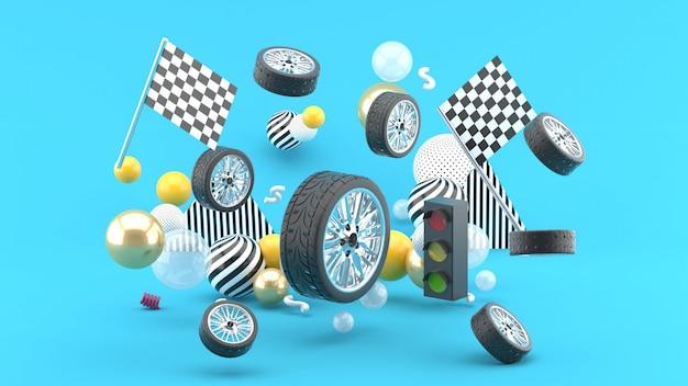 A roda flutua entre bandeiras e sinais e bolas coloridas no azul. 3d rendem