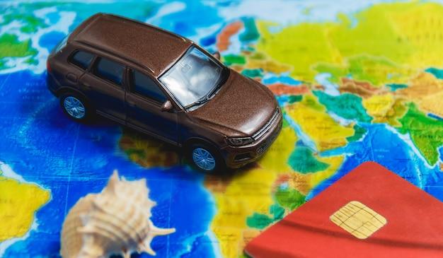 A rota da viagem de automóvel