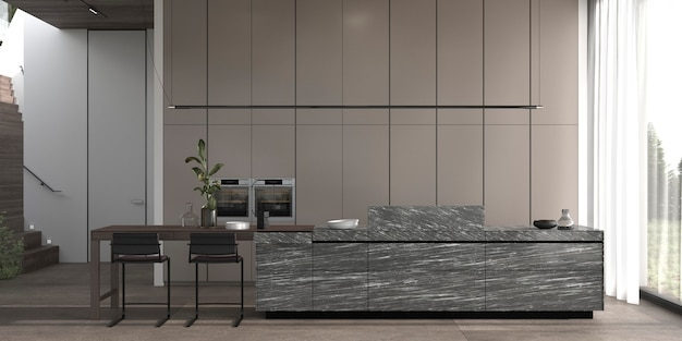 A sala da cozinha do design interior mínimo luxuoso moderno 3d rendem a ilustração.