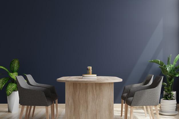 A sala de conferências tem parede azul escura com cadeiras e mesa