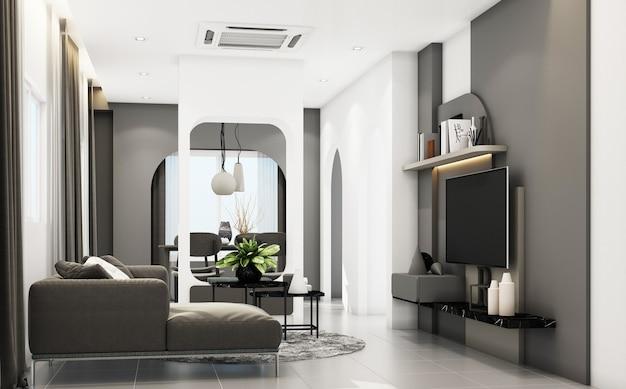 A sala de estar com móveis cinza e formas geométricas decoram a renderização 3d integrada