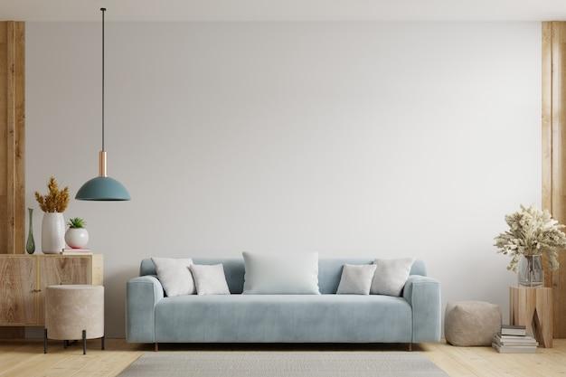 A sala de estar com parede branca tem sofá e decoração. renderização 3d