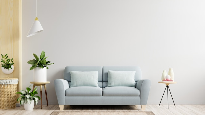 A sala de estar com parede branca tem sofá e decoração, renderização em 3d