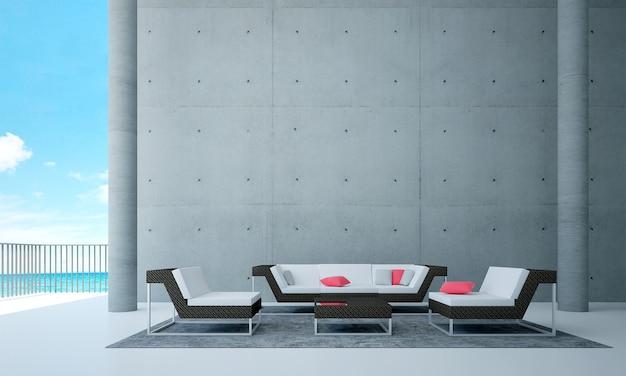 A sala de estar do loft e a simulação de decoração de móveis e fundo de parede de concreto