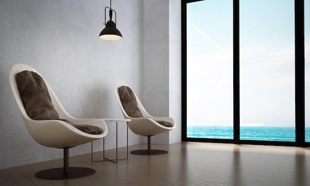 A sala de estar e as cadeiras simulam móveis e o fundo da parede de concreto e vista para o mar