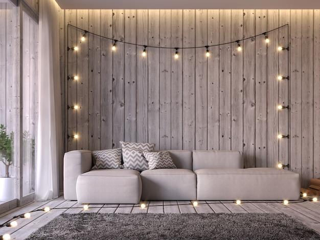 A sala de estar em estilo chalé 3d renderiza o piso e a parede são de madeira antiga, decorados com sofá de tecido bege