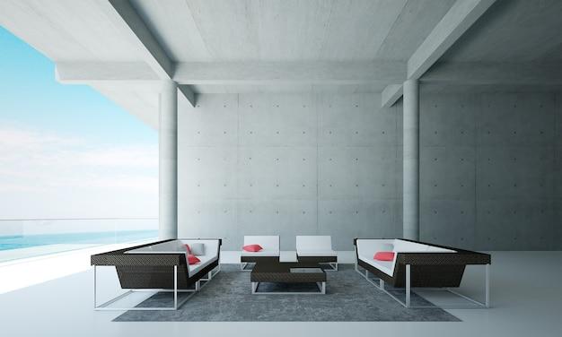 A sala de estar minimalista e a simulação de decoração de móveis e fundo de parede de concreto e vista do mar