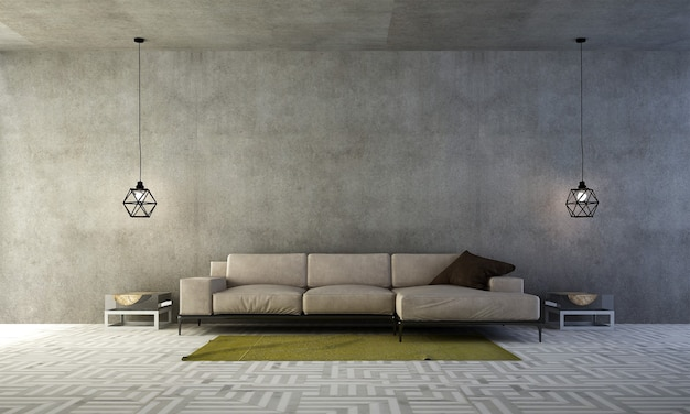 A sala de estar minimalista e a simulação de decoração de móveis e fundo de parede de concreto