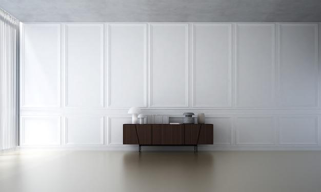 A sala de estar minimalista e a simulação de decoração de móveis e o fundo de parede com padrão branco vazio