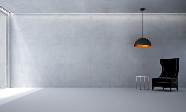 A sala de estar minimalista e a simulação de decoração de móveis e o fundo de parede de concreto vazio