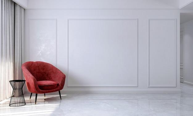 A sala de estar minimalista e as cadeiras vermelhas simulam a decoração dos móveis e o fundo branco da parede