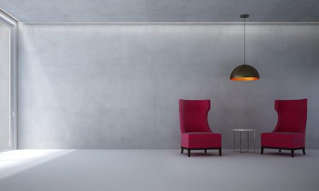 A sala de estar minimalista e o sofá simulam decoração de móveis e fundo de parede de concreto vazio