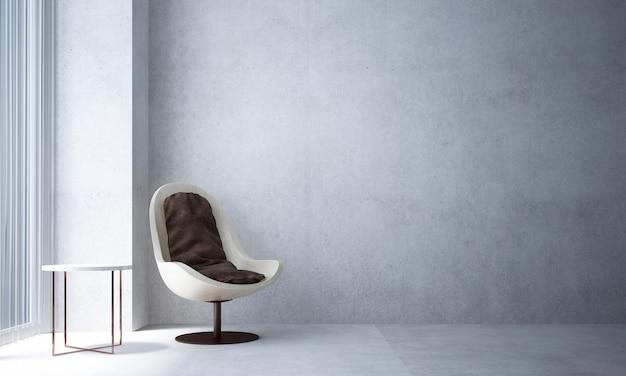 A sala de estar minimalista e simulação de decoração de móveis de madeira e fundo de parede de concreto vazio
