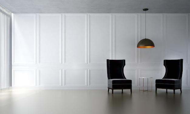 A sala de estar minimalista e simulação de decoração de móveis e fundo de parede branco vazio