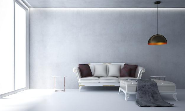 A sala de estar moderna e a simulação de decoração de móveis e fundo de parede de concreto branco