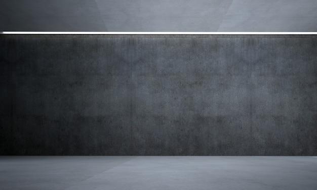 A sala de estar moderna e a simulação de decoração de móveis e fundo de parede de concreto preto