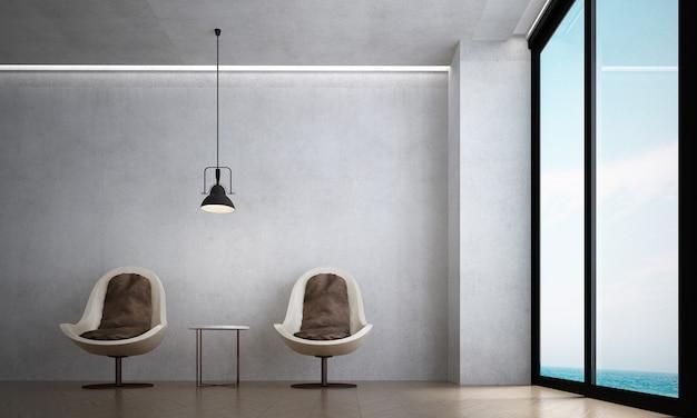 A sala de estar moderna e as cadeiras simulam decoração de móveis e fundo de parede de concreto